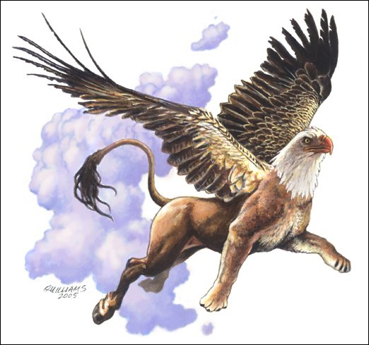 Créature hybride légendaire, mi-cheval, mi-aigle, que l'on peut retrouver dans certains romans de chevalerie médiévaux :