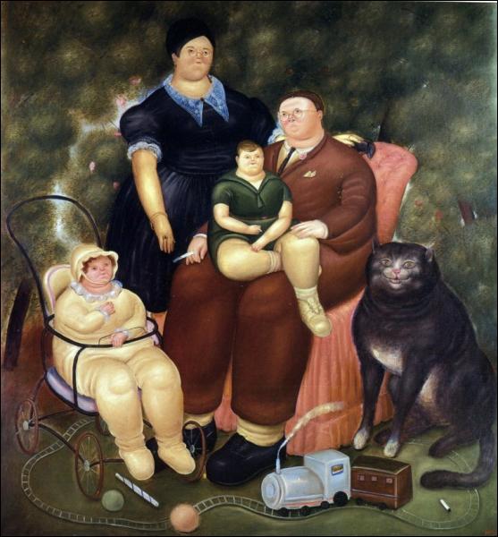 Qui a peint cette 'scène de famille' dans laquelle figure un gros chat ?