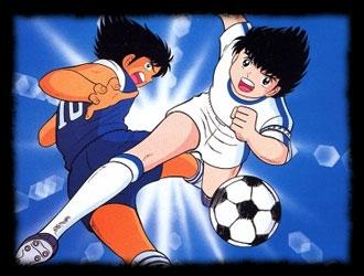 Deux jeunes footballeurs provenant d'une série d'animation japonaise :
