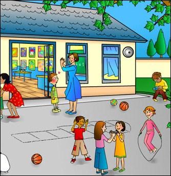 Les enfants jouent : la cour de récréation est ________.