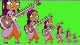 De quel instrument traditionnel indien Sally joue-t-elle sur cette image ?