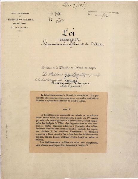 """De quand date la """" Loi de séparation de l'Eglise et de L' Etat """" ?"""