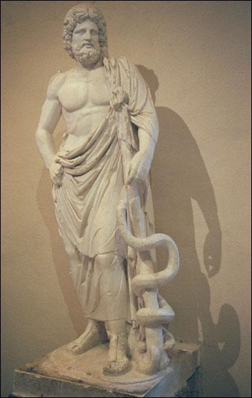 Qui est ce dieu, avec son caducée (qui n'a qu'un seul serpent) ?