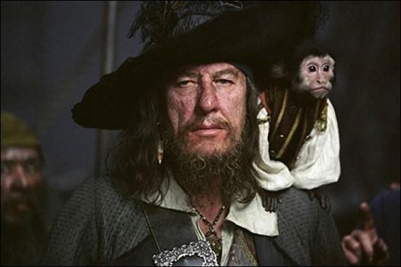Toujours accompagné de Jack le singe, il est interprété par Geoffrey Rush. Qui est-il ?