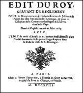 Quel est le texte législatif promulgué en 1685 qui règlemente le statut des esclaves dans les colonies françaises ?