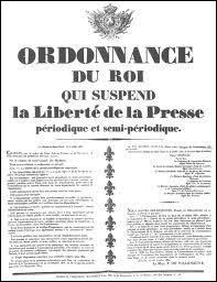 Quelles lois liberticides de juillet 1830 vont mettre le feu aux poudres et provoquer le soulèvement général du peuple ?