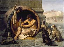 Diogène de Sinope, philosophe cynique, dormait dans un tonneau.