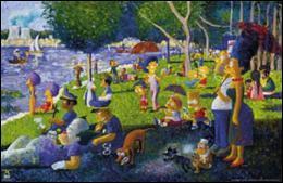 Qui est le vrai auteur de ce tableau parodique que l'on pourrait intituler  Un dimanche après-midi sur le lac de Springfield   ?