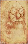 Qui est le vrai auteur de ce dessin parodique d'Abraham Simpson barbu ?