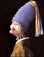 Qui est le vrai auteur de ce tableau parodique que l'on pourrait intituler  Marge à la perle   ?