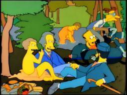 Qui est le vrai auteur de ce tableau parodique que l'on pourrait intituler   Le déjeuner sur l'herbe de la famille Simpson   ?