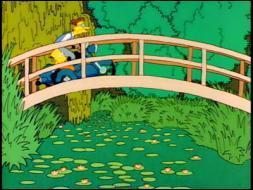 Qui est le vrai auteur de ce tableau parodique que l'on pourrait intituler   Le bassin aux nymphéas à Springfield   ?