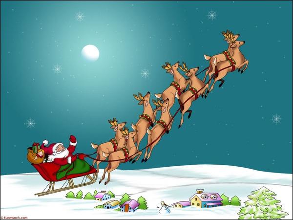 Nous sommes les animaux tirant le traîneau du Père Noël. Qui sommes-nous ?