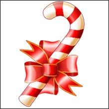 Je suis un bonbon qu'on peut manger ou accrocher sur le sapin de Noël. Que suis-je ?
