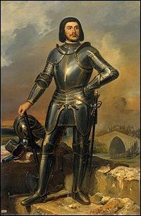 Gilles de Laval, seigneur de Tiffauges, dit Gilles de Rais a été un compagnon de Jeanne d'Arc. Ses actes horribles sur de jeunes enfants l'ont mené au bûcher. Il serait à l'origine de la légende -------------.