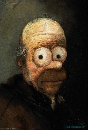 Qui a peint cet autoportait où Homer apparait ?