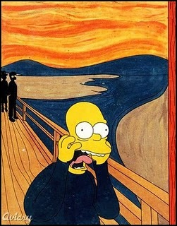 Quelle est l'œuvre que parodie ici Homer Simpson ?