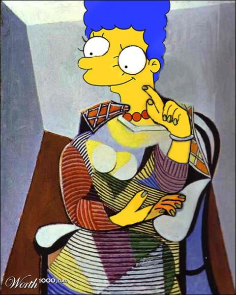Marge Simpson est ici représentée à la façon de...