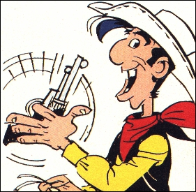Qui est ce personnage ? Fidèle compagnon de Jolly Jumper ( ou alors, c'est l'inverse), il tire plus vite que son ombre :