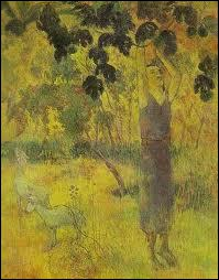 Qui a peint 'Un homme prenant un fruit sur un arbre' ?