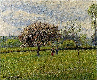 Qui a peint 'Pommiers en fleurs à Eragny' ?