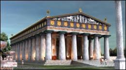 A quel dieu de la mythologie grecque était dédié le temple à Olympie, dont la statue constitue la troisième merveille du monde antique ?