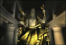 Avec quels matériaux l'immense statue de ce dieu (12m de hauteur) avait-elle été construite ?
