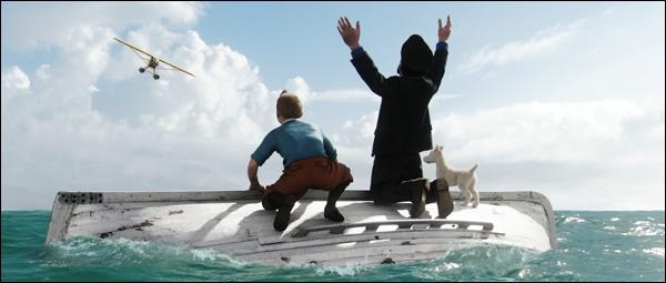 ... . . la houppette de Tintin nageant dans l'eau :