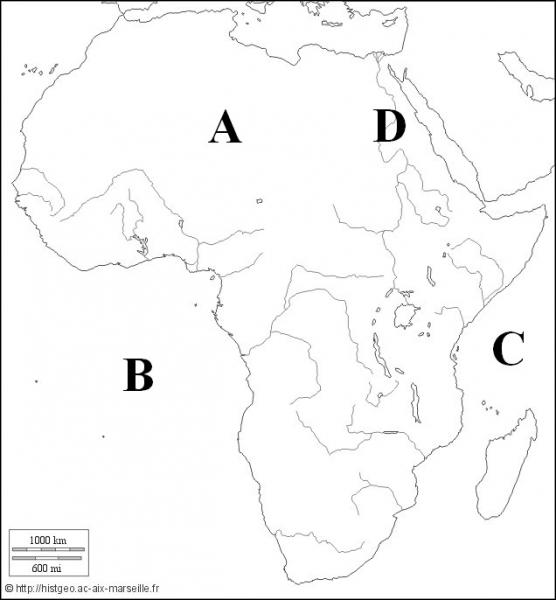 Quel océan est représenté par la lettre B ?