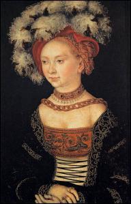 Quittons l'Italie. Peintre allemand (1472-1553) proche de Luther, j'ai néanmoins peint des nus à l'érotisme allusif et cette dame au chapeau à plumes.