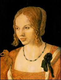 Peintre allemand (1471-1528), je suis également graveur et mathématicien. J'ai peint ce portrait d'une jeune vénitienne.