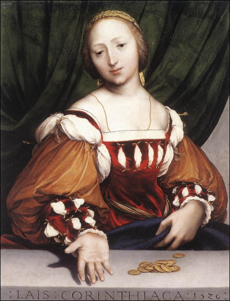 Issu d'une famille de peintres allemands (1497-1543), j'ai étudié à Bâle et, proche d'Erasme, j'ai fui la Réforme en m'installant à Londres. J'ai peint cette 'Lais de Corinthe'.