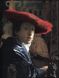 Peintre baroque néerlandais parmi les plus célèbres du siècle d'or, je suis né à Delf (1632-1675). J'ai peint des scènes de genre très raffinées et ce 'Portrait au chapeau rouge'.