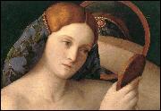 Issu d'une famille de peintres vénitiens (1425-1516), j'ai réalisé 'La Jeune Femme nue devant le Miroir'.