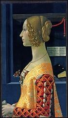 Peintre florentin de la Renaissance, (1449-1494) j'ai participé à la décoration de nombreuses salles du Vatican et notamment de la Chapelle Sixtine . J'ai peint ce 'Portrait de Giovanna Tornabuoni'.