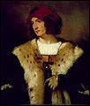 Peintre de l'école vénitienne (1490-1576), il est considéré comme le plus grand portraitiste de son époque. Il a peint 'L'homme au chapeau rouge'.