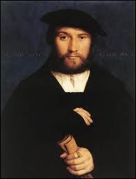 Peintre allemand (1497-1543), proche d'Erasme, il a peint ce 'Portrait d'un membre de la famille von Weding'.
