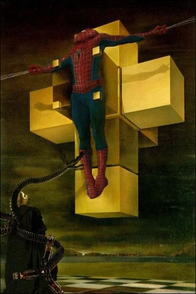 Quel héros est crucifié dans la toile de Dali 'Crucifixion' ?