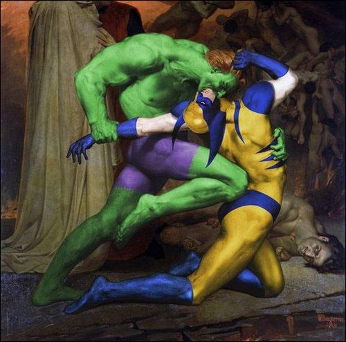 Quels personnages se moquent de Dante et Virgile (de William Bouguereau) ?