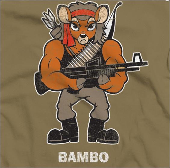 Bambo. Croisement entre Bambi et Rambo. Bambi est une oeuvre cinématographique de...