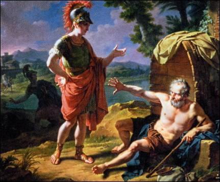 Diogène de Sinope était un cynique. Il vivait dans une grosse amphore et se baladait en plein jour avec une lanterne pour chercher un être humain. Un jour, Alexandre le Grand lui demanda : ''Que veux-tu ? Il répondit :