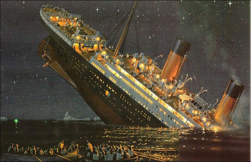 Et pour finir le naufrage du fameux bâtiment de la White Star Line, le Titanic