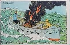 Dans quel album, le capitaine Haddock qui n'a plus toute sa raison, met-il le feu dans une chaloupe de sauvetage ?