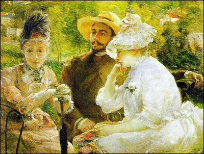 Avec Morisot et Cassat, elle est l'une des trois femmes impressionnistes majeures de l'époque. Peu encouragée par son mari, célèbre graveur, elle abandonne la peinture. Ici : 'Sur la terrasse à Sèvres'.