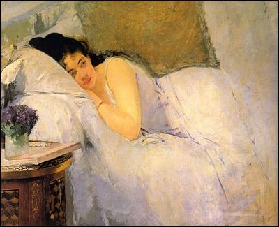 Elève et modèle d'Edouard Manet, dès 1870 elle exposa au Salon et y présenta ses tableaux tous les ans. Voici sont délicat 'Réveil'