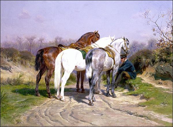 Spécialisée dans les représentations animalières (1822-1899), elle connut le succès tant en France qu'en Angleterre ou aux États-Unis. Voici son 'Relais de chasse'.
