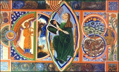 Bénédictine mystique, compositrice et femme de lettres allemande du XII siècle, elle consigna ses visions dans un manuscrit 'le Scivias' accompagnées de magnifiques illustrations.