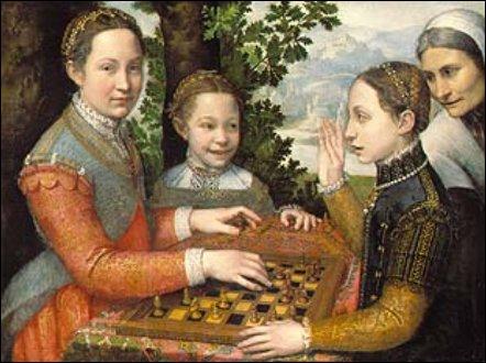 Fin de la Renaissance, une première à l'époque : deux femmes italiennes sont nommées peintres officiels de la cour. L'une à la cour d'Espagne (1532-1625). Ici ses 'Trois soeurs jouant aux échecs'.