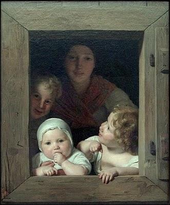 'Une paysanne et trois enfants à la fenêtre'