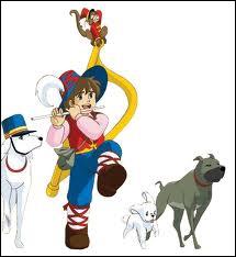 Comment s'appelle le chien blanc avec un chapeau à côté de Rémi sans famille ?